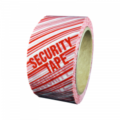 Security Packing Tape, White/Red